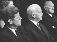 John F. Kennedy visits the Federal Republic of Germany in 1963 US President John F. Kennedy (l-r), Federal President Heinrich Lübke, and Federal Chancellor Konrad Adenauer during a ceremony for the founding of the German Development Service, on 24 June 1963 at Villa Hammerschmidt in Bonn. President Kennedy was visiting the federal republic for four days.  Date Photographed:June 24, 1963.ღ❤ღ❤ღ❤ღ❤ღ  http://en.wikipedia.org/wiki/John_F._Kennedy