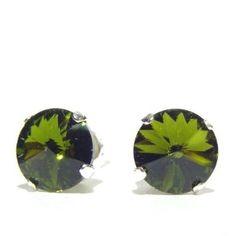 Silver Stud Earrings set with Vintage Olivine Green Swarovski Crystal Stones. Gift Box.: Amazon.co.uk: Jewellery