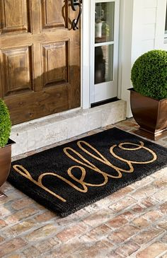 "Our ""Hello"" Coco Mat extends a proper greeting to everyone who arrives on your threshold. Hand-tufted of 100% natural coir, using techniques handed down through generations of craftspeople. Literally thousands of fibers will scrub dirt, slush, and mud off shoes, so indoors space can stay lovely and clean."