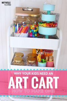 ENCOURAGE CREATIVITY How to Make an ART CART for Kids! is part of Kids art supplies - An art cart is the perfect way to let you kids express their creativity and stay clean and organized at the same time, leaving no mess for you! Kids Craft Storage, Craft Organization, Classroom Organization, Organization Ideas, Storage Ideas, Art For Kids, Crafts For Kids, Arts And Crafts, Kids Diy