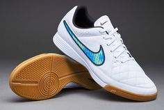 Mens Football Boots - Nike Tiempo Genio Leather Indoor - Soccer Cleats - White/Volt/Solar/Black - 631283-174