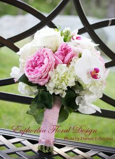 The Bridal Bouquet of David Austin Roses and Orchids