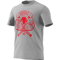 Scortch a forehand past your opponent with the adidas Men's Tennis Crest Tennis Tee and be proud of your support for the great brand and the fantastic sport! This tee features and awesome graphic displaying the power of the tennis ball, when hit properly. It also highlights adidas, one of the brands at the forefront of the tennis fashion game. With its casual look and mix of polyester and cotton, this shirt can be worn on the court, on the couch, or at the gym with ease. Throw it on and rep!