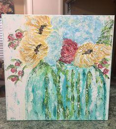 Abstract Mason Jar Floral Painting, sunflower painting, sunflower decor by AshleyBradleyArt on Etsy https://www.etsy.com/listing/527810520/abstract-mason-jar-floral-painting