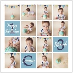 Connor Cake Smash First Birthday Collage web
