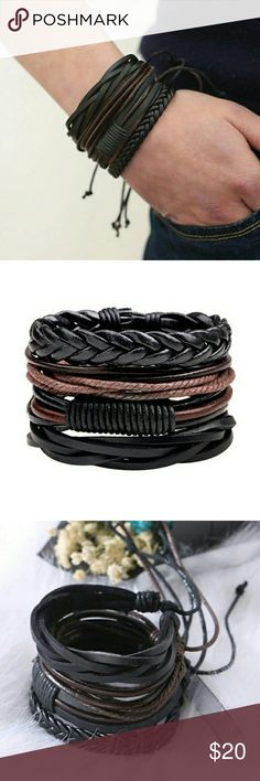 4 Leather Drawstring Bacelets NWT Color: Black & Brown Size: Adjustable  New in package Accessories Jewelry