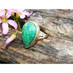 Large Natural Untreated Emerald Cocktail by GoldiesNaturalGems ($250) via Polyvore