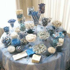 Blue Candy Buffet, Candy Buffet Tables, Sweet 16 Decorations, Baby Shower Decorations, Buffet Dessert, Wedding Candy Table, Bar A Bonbon, Denim And Diamonds, Winter Wonderland Party