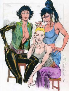 Disegno di Marco Santucci con tre bellissime del fumetto italiano: Legs Weaver, Desdemona Metus (L'Insonne) e Tesla (Dampyr)
