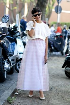 long skirt topped off with a cropped shirt