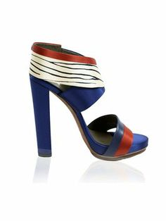 Balenciaga Navy Blue red white Sandals  305 Blue Satin, Sandals For Sale, 288464524f39