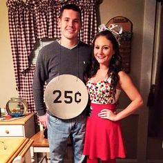 Gumball Machine & Quarter couples diy halloween costume