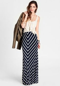 Mellow World Striped Maxi Skirt