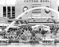 State Fair view of the Cotton Bowl where the Cowboys first played Lake Pictures, Old Pictures, Old Photos, Highland Park Village, Dallas Skyline, Pleasant Grove, The Bedford, Cotton Bowl, Grand Prairie