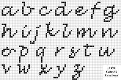 Script cross stitch alphabet chart