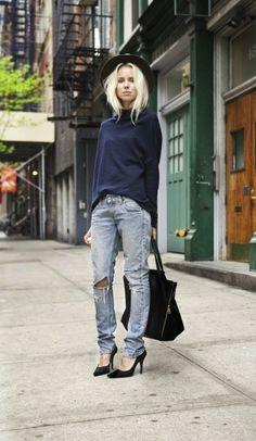 Elin Kling Boyfriend Jeans and Heels | Street Style