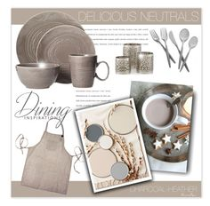 """Delicious Neutrals - Dining"" by nonniekiss ❤ liked on Polyvore featuring interior, interiors, interior design, home, home decor, interior decorating, Threshold and Nambé"