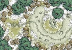 The Frosted Rock Garden, a battle map for D&D / Dungeons & Dragons, Pathfinder, Warhammer and other table top RPGs. Tags: japan, japanese, rock garden, forest, trail, winter, snow, woods