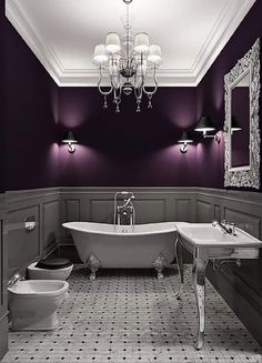 home interior Get a 780 Credit Score in 4 weeks,learn how Here decorating before and after home design room design design house design House Design, House, Dark Purple Walls, House Styles, Purple Bathrooms, House Interior, Dream Bathroom, Beautiful Bathrooms, Grey Bathrooms