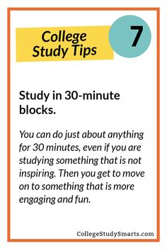 If you feel like there is no time to study, you are wrong. Identify a study block today. Set a timer, get to work, and wrap up when the timer goes off. Everyone has 30 min in their day to devote to their dreams. College Classes, College Tips, College Binder, Study Schedule, Importance Of Time Management, College Organization, Online College, Student Online, Study Skills