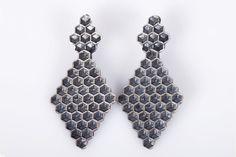 Pendientes de plata de la colección Honeycomb