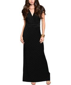 Another great find on #zulily! Charcoal & Black Stripe Surplice Maxi Dress #zulilyfinds
