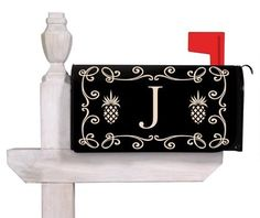 """Pineapple Monogram Mailbox Covers """"D"""" by title=""""Pineapple Monogram Mailbox Covers """"D"""" by Cool Mailboxes, Painted Mailboxes, Mailbox Monogram, M Monogram, Pineapple Monogram, Pineapple Design, Security Mailbox, Mailbox Accessories, Large Mailbox"""