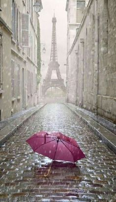 Photo about Eiffel tower view from the street of Paris. Black and white photo with red element. Image of detail, french, paris - 40795305 Rainy Paris, Oh Paris, Paris Love, Beautiful World, Beautiful Places, Beautiful Pictures, Beautiful Streets, The Places Youll Go, Places To Visit