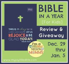 Bible in a Year Review and Giveaway: This One Year Bible is for Children. I think it would make a great gift for my oldest son.