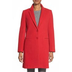Charles Gray London Wool Blend College Coat ($185) ❤ liked on Polyvore featuring outerwear, coats, red, charles gray, wool blend coat, long sleeve coat and red coat