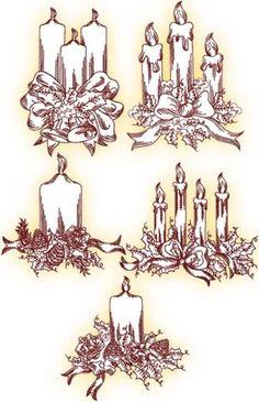 Karácsonyi gyertya redwork technika Set II