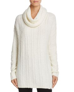 Love Scarlett Cowl Neck Ribbed Tunic Sweater