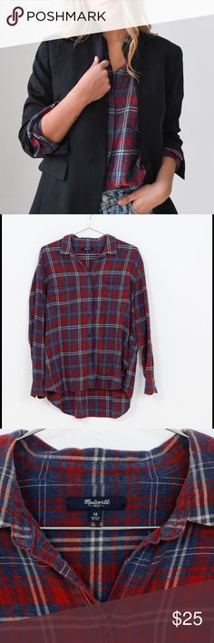 Madewell classic button down flannel sz M Perfect top for layering! Classic colors and style. Originally $59. Hope you like it as much as we do! Madewell Tops Button Down Shirts