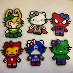 Hello Kitty Avengers perler beads by litenuggla