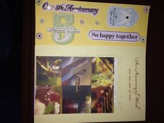 5th Anniversary page & cards: This a 8 by 8 scrapbook page featuring 5th anniversary stickers.