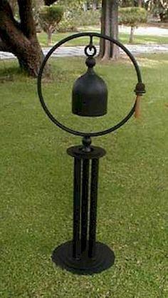 Large gas tank chimes with metal stand Metal Yard Art, Scrap Metal Art, Yard Art Crafts, Blacksmith Projects, Steel Art, Iron Art, Junk Art, Welding Art, Metal Projects