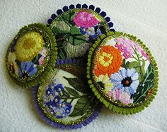 All from the same crewel piece (woolly  fabulous) Tags: recycled zipper pincushion doily beaded ecofriendly pincushions crewel