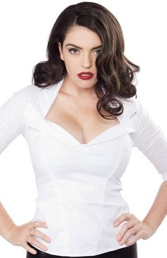 PUG Pinup Girl Clothing White Doris Top XS in Clothing, Shoes, Accessories, Women's Clothing, Tops & Blouses   eBay