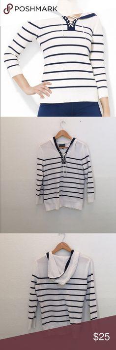 Lauren Ralph Lauren stripe lace up hoodie Cotton hoodie with stripe detail Lauren Ralph Lauren Sweaters