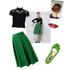 green and black by nika-mikano on Polyvore featuring polyvore fashion style Alice + Olivia Chicwish Nina Fiebiger