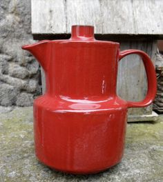 Melitta-Ceracron-rot-Kaffeekanne-Teekanne-70er-Vintage-Original-space-age