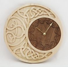 Clock Celtic Moon Personalized от krtwood на Etsy--I wish this could be gray or black Chip Carving, Wood Carving, Moon Clock, Machine Cnc, Anniversary Clock, Celtic Art, Celtic Decor, Cool Woodworking Projects, Woodworking Tools