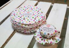 Ślub - inne-drukowane tkaniny na słoiczki :-) 100 sztuk