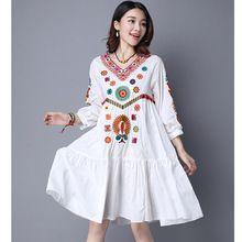 Feliz Pretty Mujeres de Verano de Algodón de Lino Vestido de Moda de Origen Chino EmbroiderySexy V-cuello Bohemio playa Vestido Hembra Más tamaño(China (Mainland))