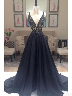 Cool Evening dresses v-neck black prom dresses, long satin evening dresses #SIMIBridal #promdresses... Check more at http://24myshop.tk/my-desires/evening-dresses-v-neck-black-prom-dresses-long-satin-evening-dresses-simibridal-promdresses/