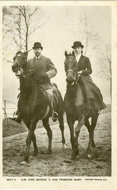 King George V with his daughter Princess Mary, Viscountess Lascelles 1897-1965. Princess Mary lived at Goldsborough Hall throughout the 1920s.