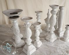 diy-aged-layered-painted-candlesticks-Amy Howard-Cracked Gesso