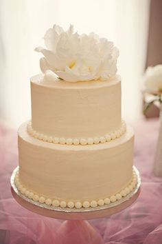 simple elegance. wedding cake ~ white ~ icing.