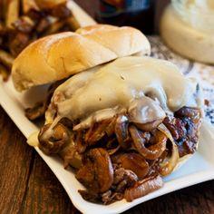 steak bomb sandwich. steak, provolone, grilled onions + mushrooms in a burbon/garlic aiolo. nom!