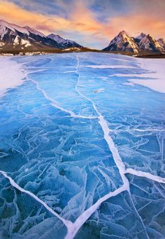 Surreal ice cracks on lake Abraham, Alberta, Canada